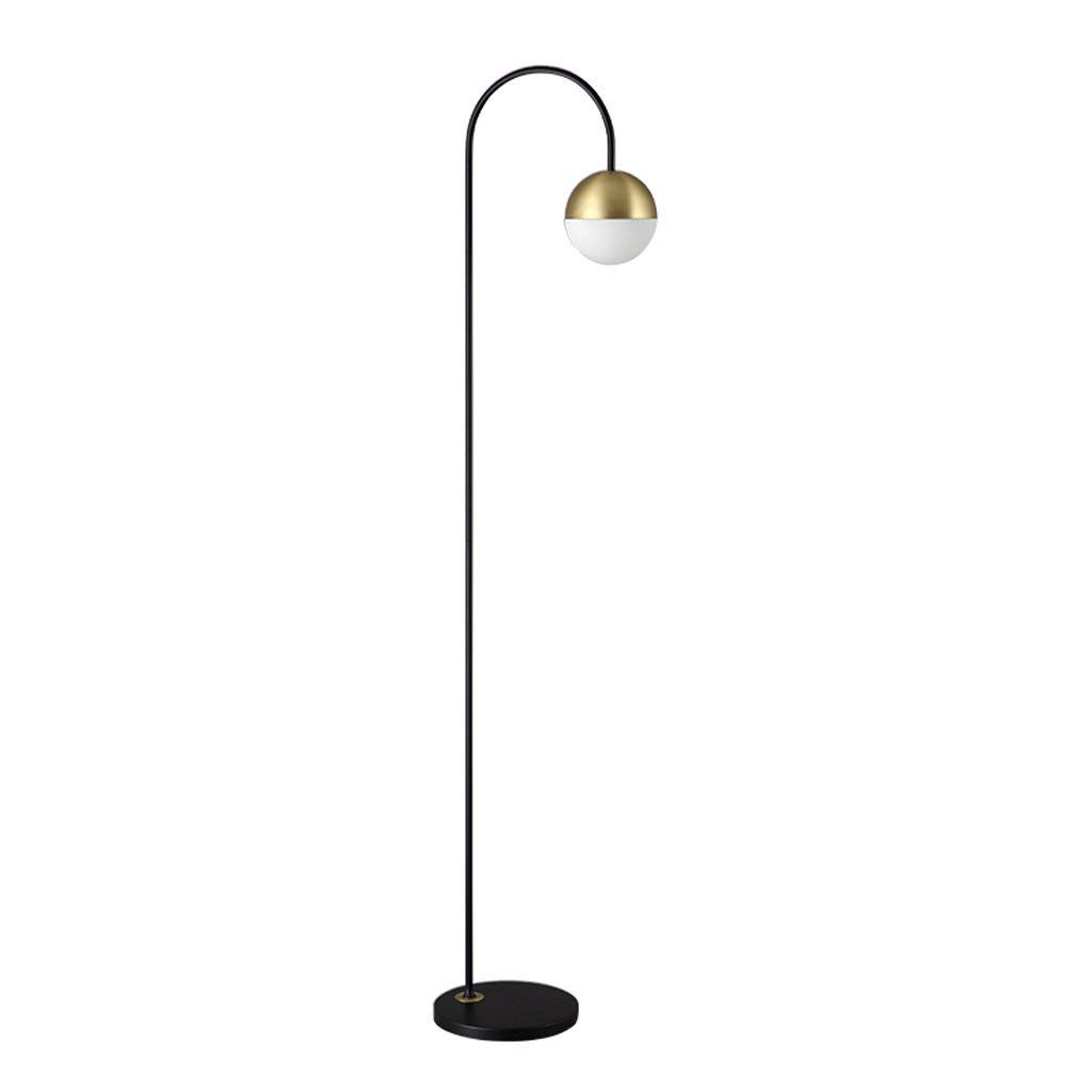 "Single Stem Spherical Floor Light, Metal Gooseneck Floor Lamp, Glass Lampshade, E27, Height 61.66"", Nordic Simple Style Arched Floor Light, Bedroom Living Room Study Office Floor Light"