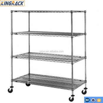 Wire Shelving Wheels | 4 Tier Wire Shelving With Silence Wheels High Quality Chrome Coated