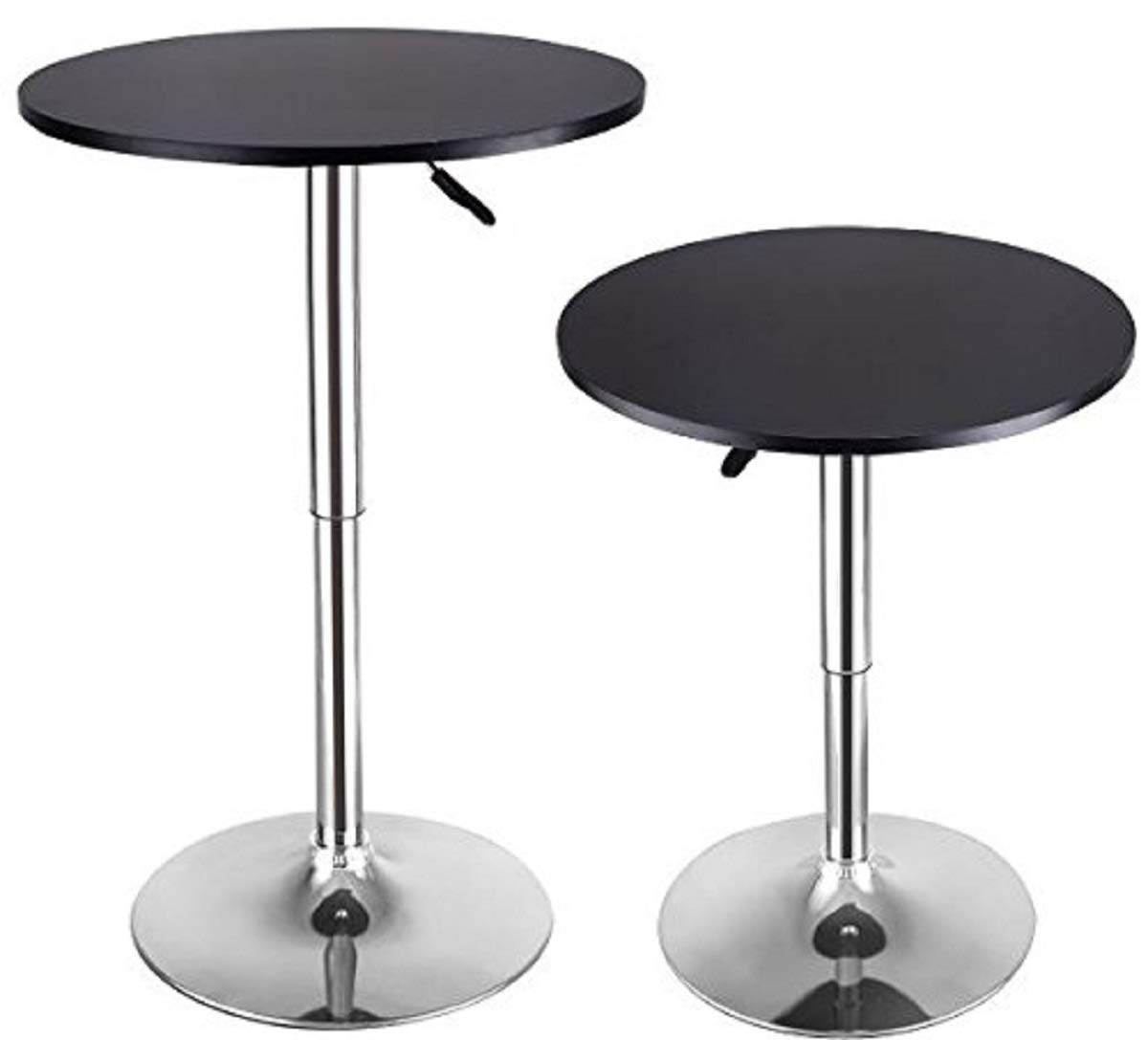 2 Pcs Height Adjustable Round Bar Tables Bistro Pub Counter Swivel Cafe  Tables BeUniqueToday
