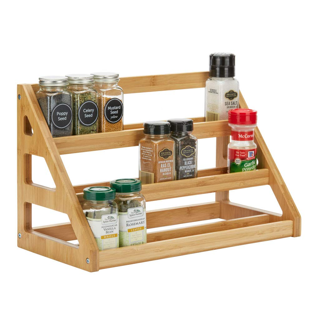 Beautiful bamboo spice organizer rack for counter or cabinets