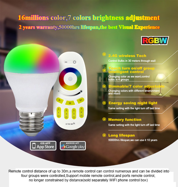 Factory Direct Sales Smart Bulb Lighting Mi.light Wifi Led Bulb 6w ...