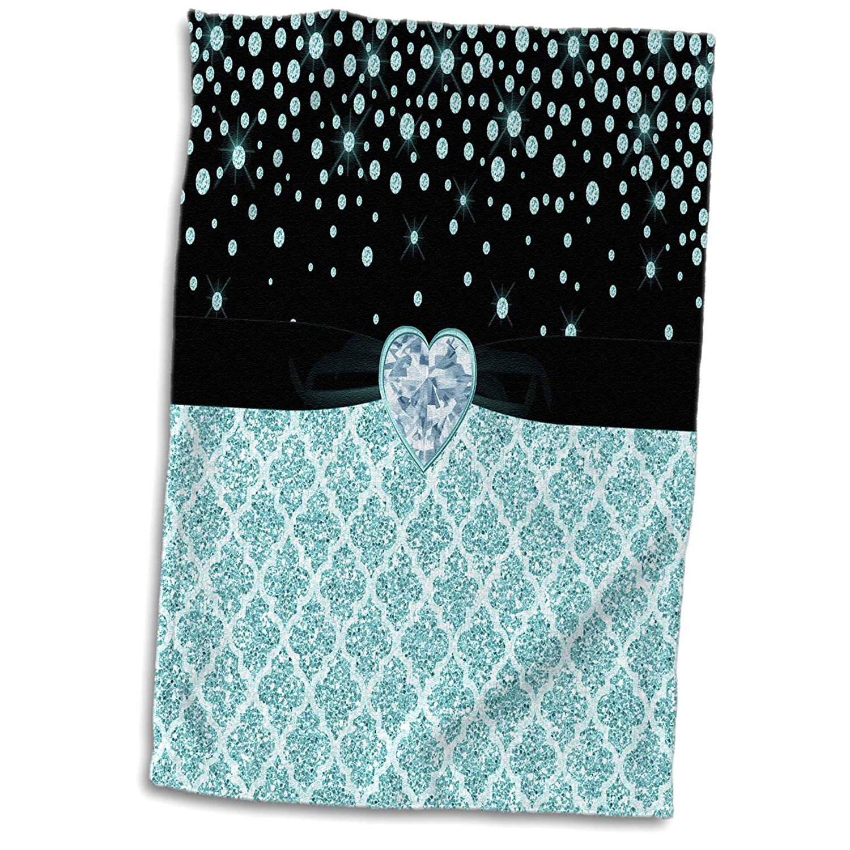 3dRose Anne Marie Baugh - Glitter and Chic - Glam Digital Turquoise Glitter Quatrefoil Diamond and Jewel Design - 15x22 Hand Towel (twl_267768_1)
