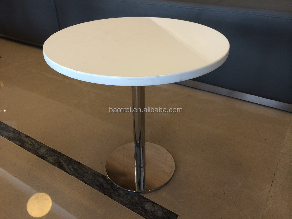 2 person acrylic solid surface+stainless steel Coffee Table