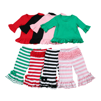 5ca979a70f6e 2019 Wholesale Spring Baby Girls Outfits Kids Cotton Red Stripe Heart  Valentine Boutique Clothes