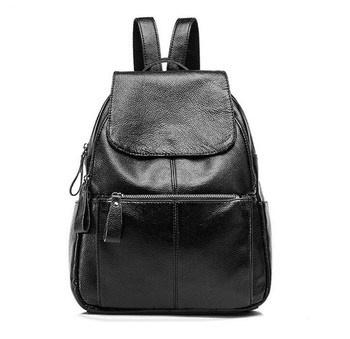 bca562f5f782 2017 Fashion korean trendy black color womens genuine leather backpack