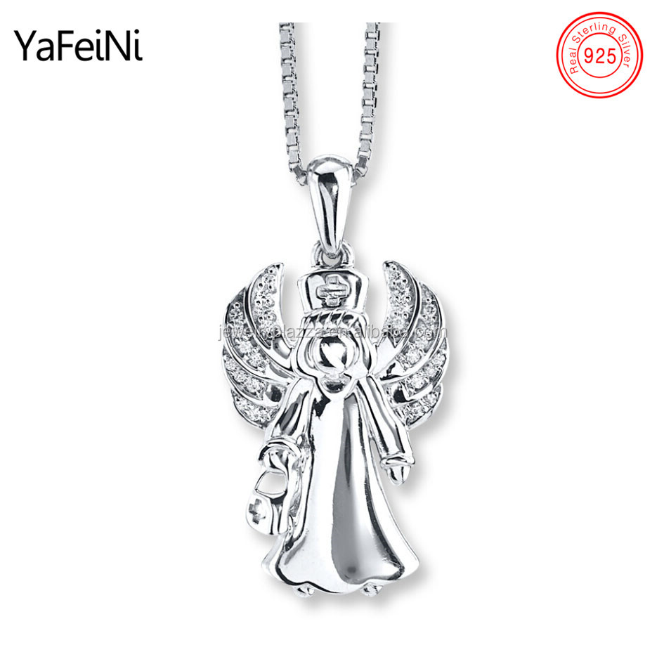 Wholesaler Silver Jewelry Rhodium Plated 925 Sterling Silver Nurse Angel Necklace