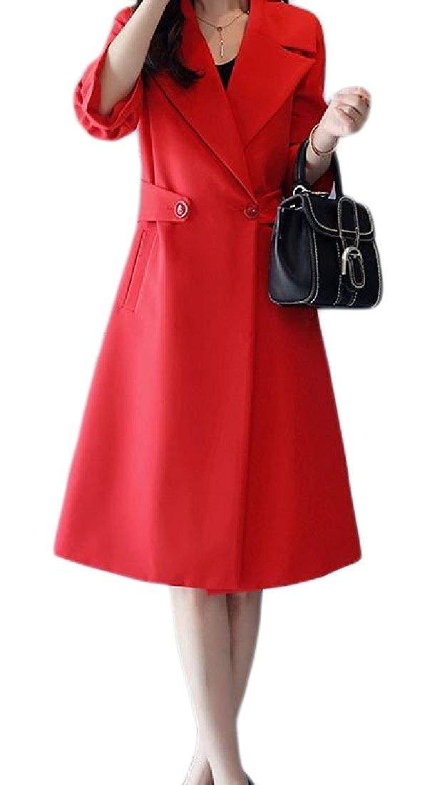 Zimaes-Women Mid-Long Flare Sleeve Pocket Lapel Plus-Size Windbreakers