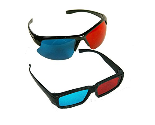 BIRUGEAR 2x Red and Cyan Glasses Fits over Most Prescription Glasses for 3D Movies, Gaming and TV (1x Frameless bottom ; 1x Anaglyph style)