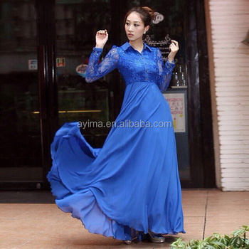 hot selling lace long sleeve maxi dress plain navy chiffon muslim women long  dress muslim long cfa9193413
