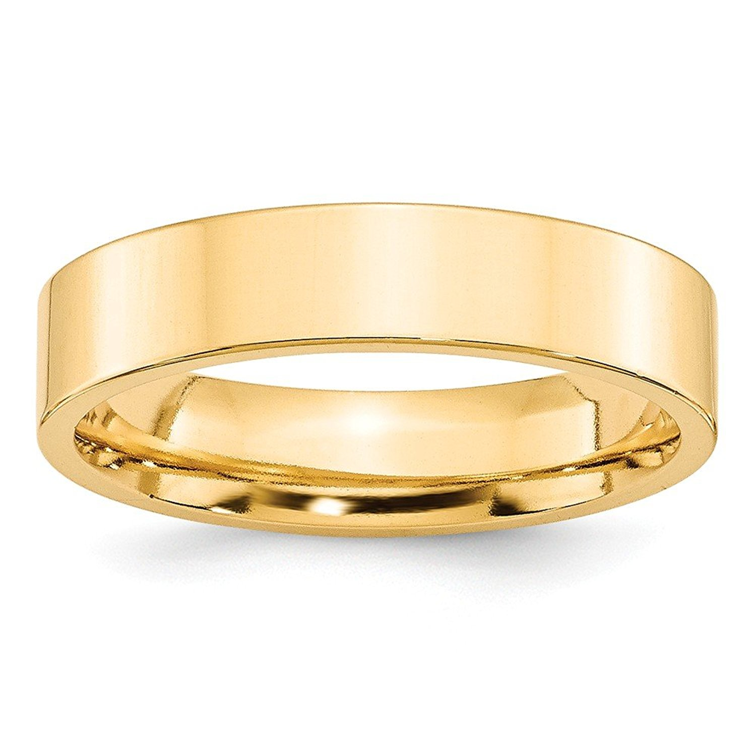 Perfect Jewelry Gift 14KY 5mm Standard Flat Comfort Fit Band Size 8