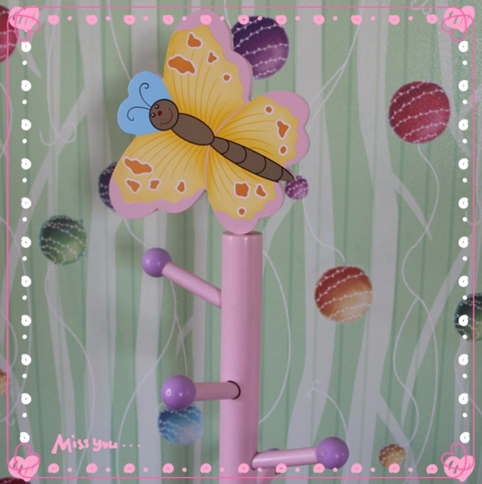 Factory supply Colorful sturday wooden kids clothes trees stand
