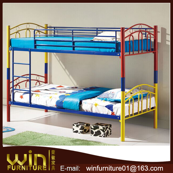 colorful steel tube bunk bed for girls
