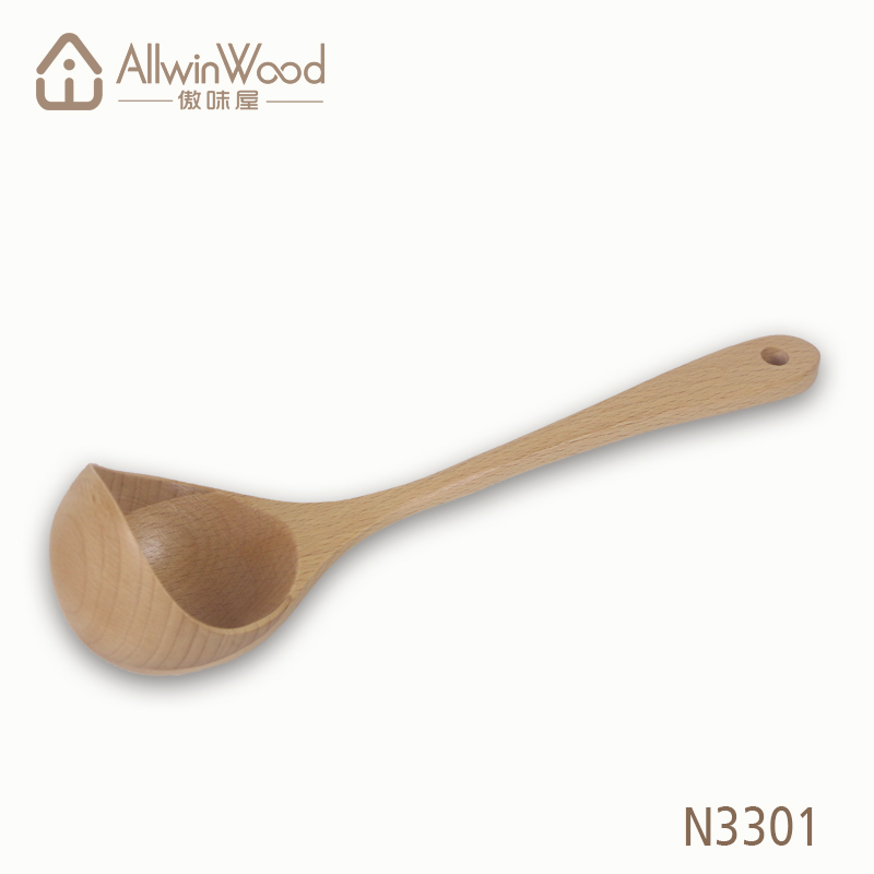 beech wood middle handle ladle for soup
