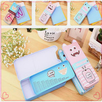 Logo custom Kawaii Product with Best quality feature stationery 2017 School office metal pencil case cute for kids