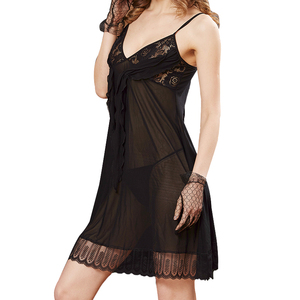 Black Lace Baby Doll Lingerie Nightie Hot Sexy Ladies Transparent Babydoll Nightwear