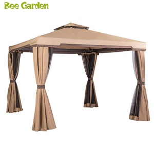 10' x 10' Beige Color All-Season Permanent Double Square Tops Outdoor Garden Gazebo with Vented Soft Canopy and Mosquito Netting