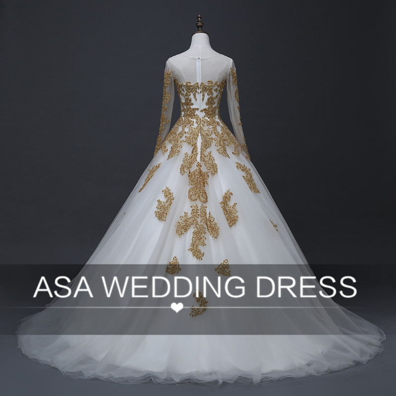 YASA-020 ASA Real Photos Custom made Long Sleeve Gold Bride Gown Muslim Full Skirt Wedding Dress 2017