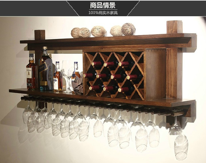 European Wood Bar Display Wall Hanging Glass Wall Wine