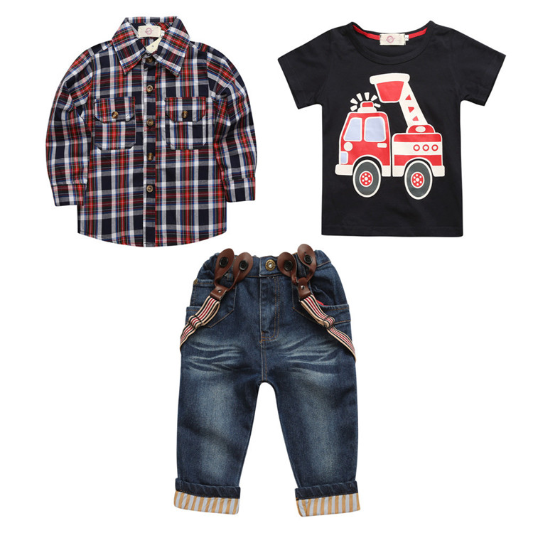 3 piece boy's plaid shirt jeans pants suits clothing set