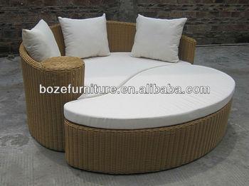 Modern Outdoor Rattan Sofa Bed Garden Round Wicker