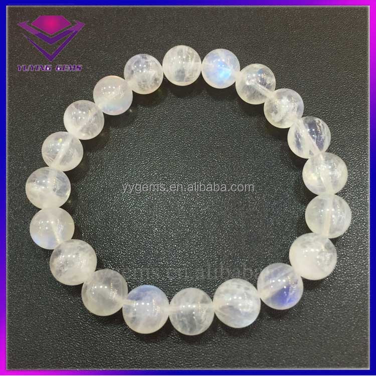 Amazing Moon Stone 10mm Round Ball Good Polished Natural Rainbow Moonstone Bracelet