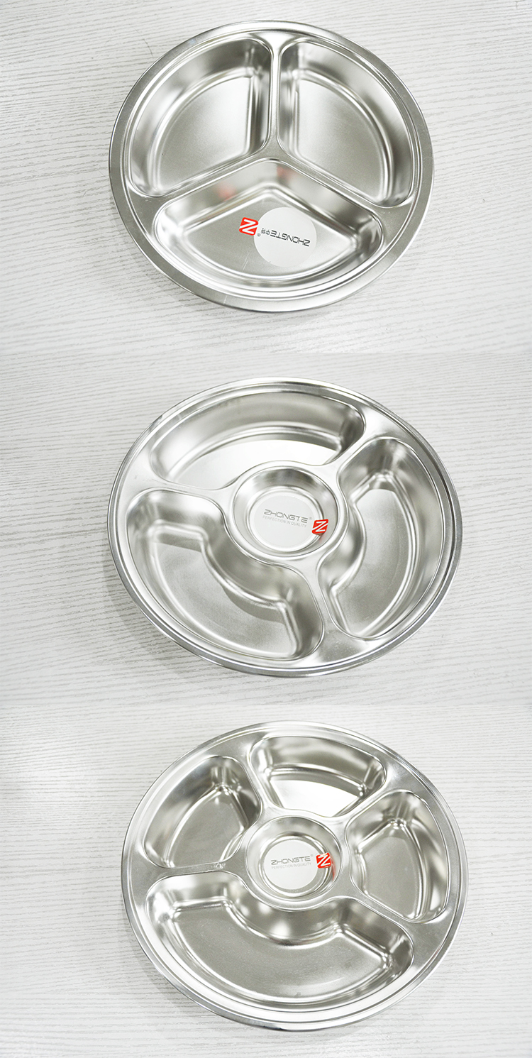 Round stainless steel school lunch tray snacks serving food tray food container plate