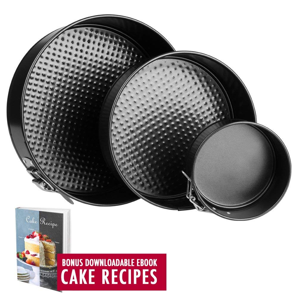 """Springform Pan Baking Pans - Set of 3 Pcs 4"""" / 7""""/ 9"""" Non-Stick Leakproof Cake Pans - Heat Resistant Carbon Steel Cheesecake Pan with Removable Bottom and Quick-Release, Cake Recipe Ebook Included"""