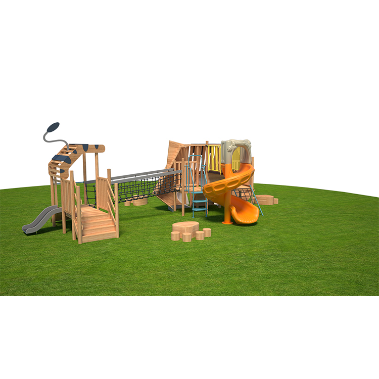 Outdoor Wooden Playground climbsets and Playsets with 304 Slide cute cat modeling