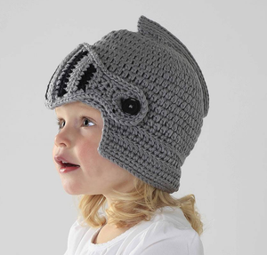 S2839 fashion free knitted patterns knight helmet hats face mask beanie kids winter hats