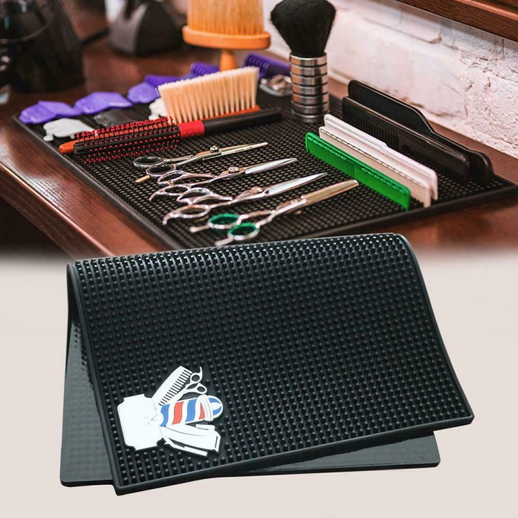 Flexible 17.8 inch Black Rubber Custom Logo Barber Shop Table Hair Salon Mat