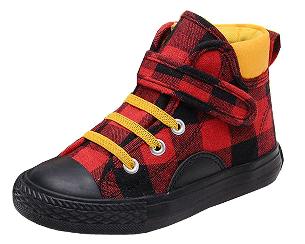 iDuoDuo Kids Classic Plaid High Top Canvas Shoes Anti-Collision Short Boots (Toddler/Little Kid/Big Kid)