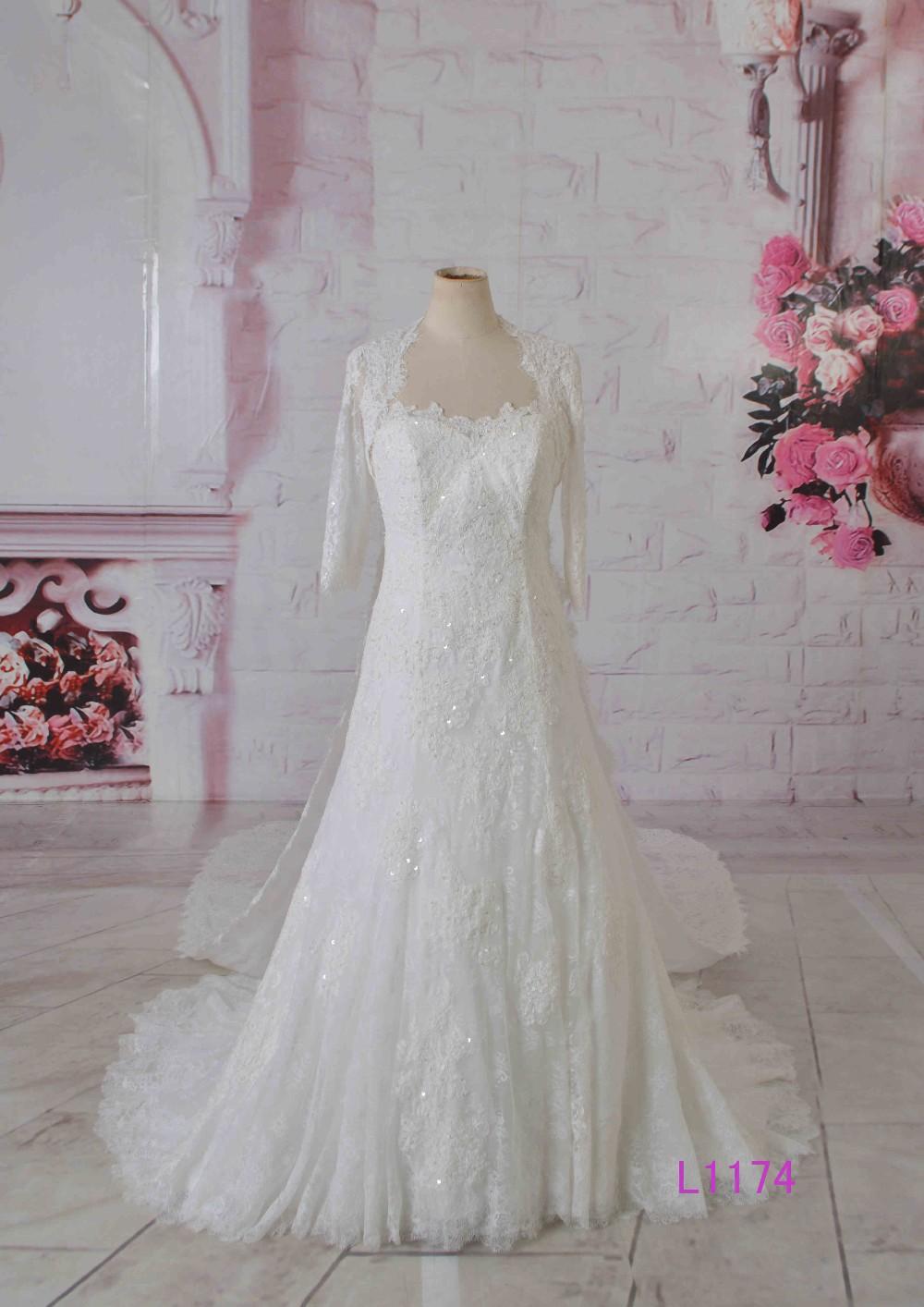 Dubai Muslim Bridal Gown 34 Long Sleeves Jacket Lace Wedding Dress Patterns Buy Wedding Gownswedding Dressbridal Gown Product On Alibabacom