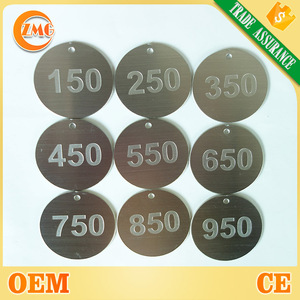 wholesale engraved circle/round metal number tags for hotel