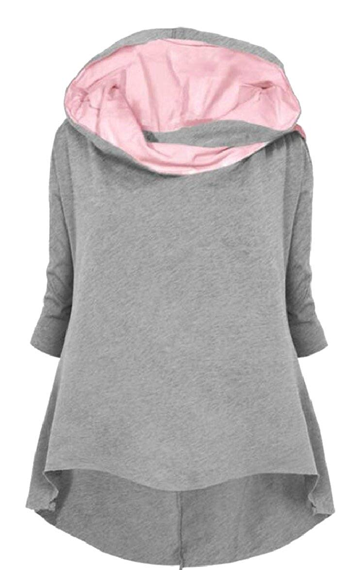 ONTBYB Womens Long Sleeve Cowl Neck Colorblock Pullover Sweatshirts