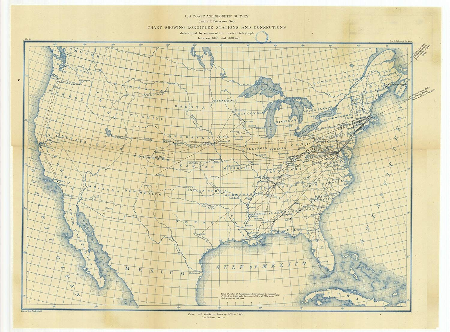 Vintography 8 x 12 inch 1880 Maine Old Nautical map Drawing Chart Chart Showing Longitude Stations Connections Determined Means The Electric Telegraph Between 1846 1880 from US Coast & Geodeti