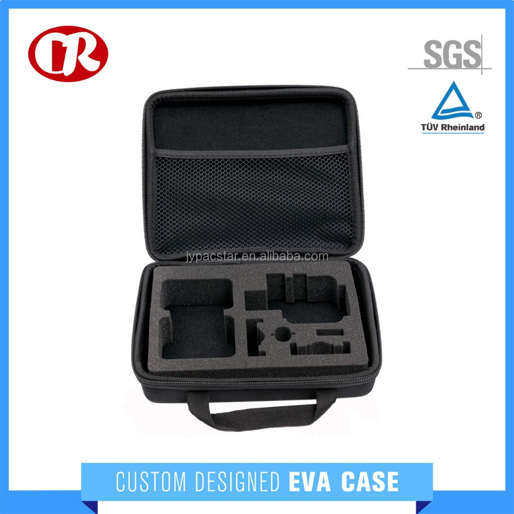 Handled EVA camera case with zipper closure portable go pro bag