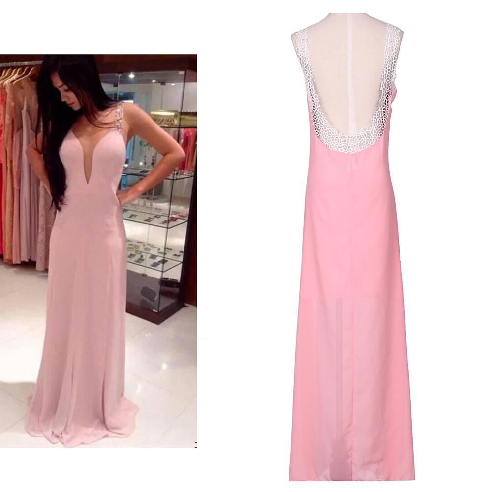 4c4f667952e5 Get Quotations · New Women Summer Maxi Dress Sexy Halter Long Chiffon  vestidos Empire Pink Bodycon Celebrity Dresses Formal