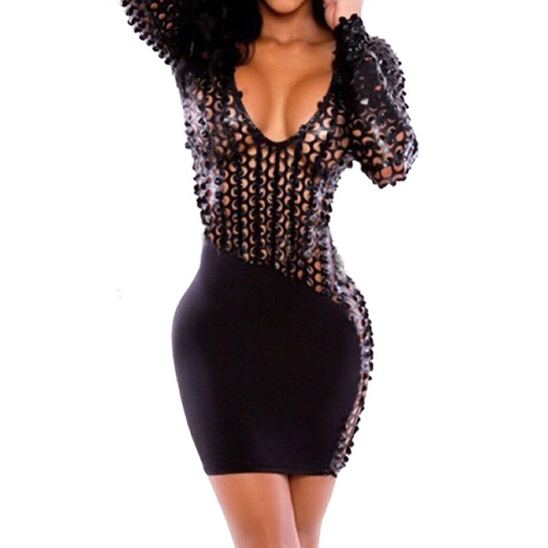 Sexy Hollow Sheer Womens Sexy Dresses Party Night Club Dress Bandage V Neck Backless Bodycon Pencil Dress