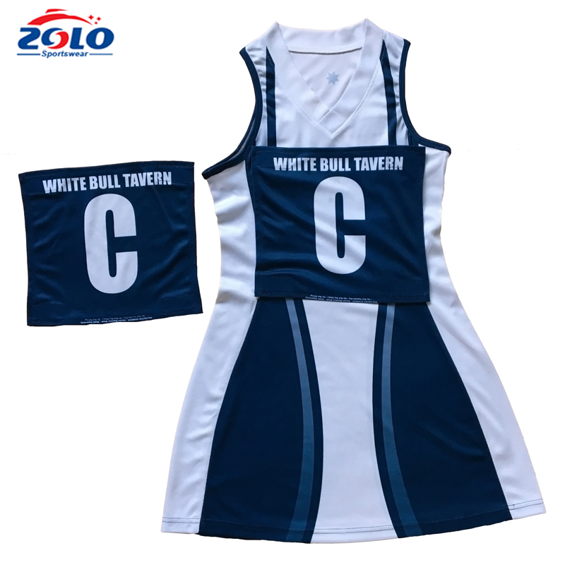 2017 New design custom made sublimation netball jersey