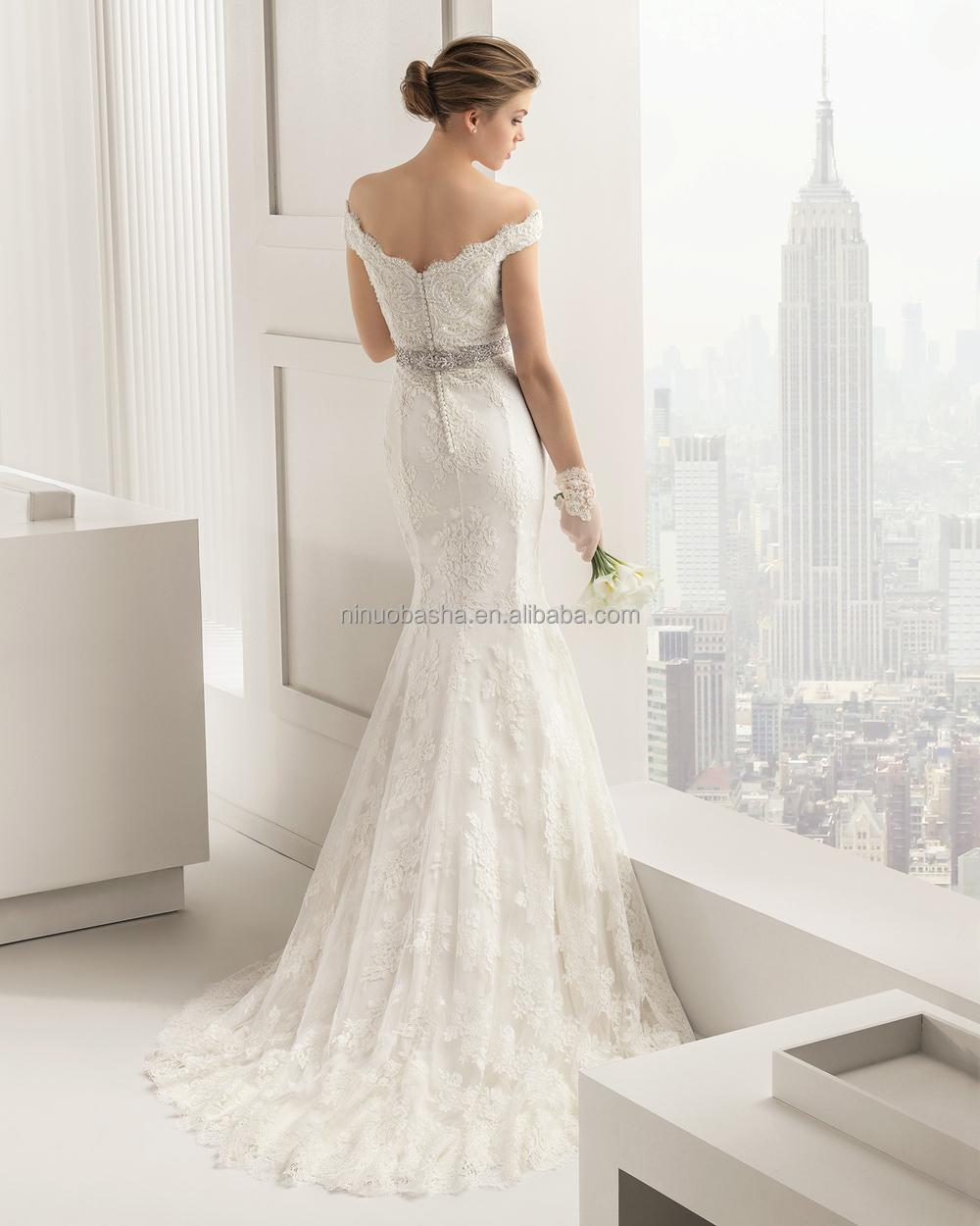 Stylish 2015 Lace Mermaid Wedding Dress V Neck Off Shoulder Cap Sleeve Beaded Sash