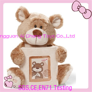 OEM teddy bear hold plush photo frame