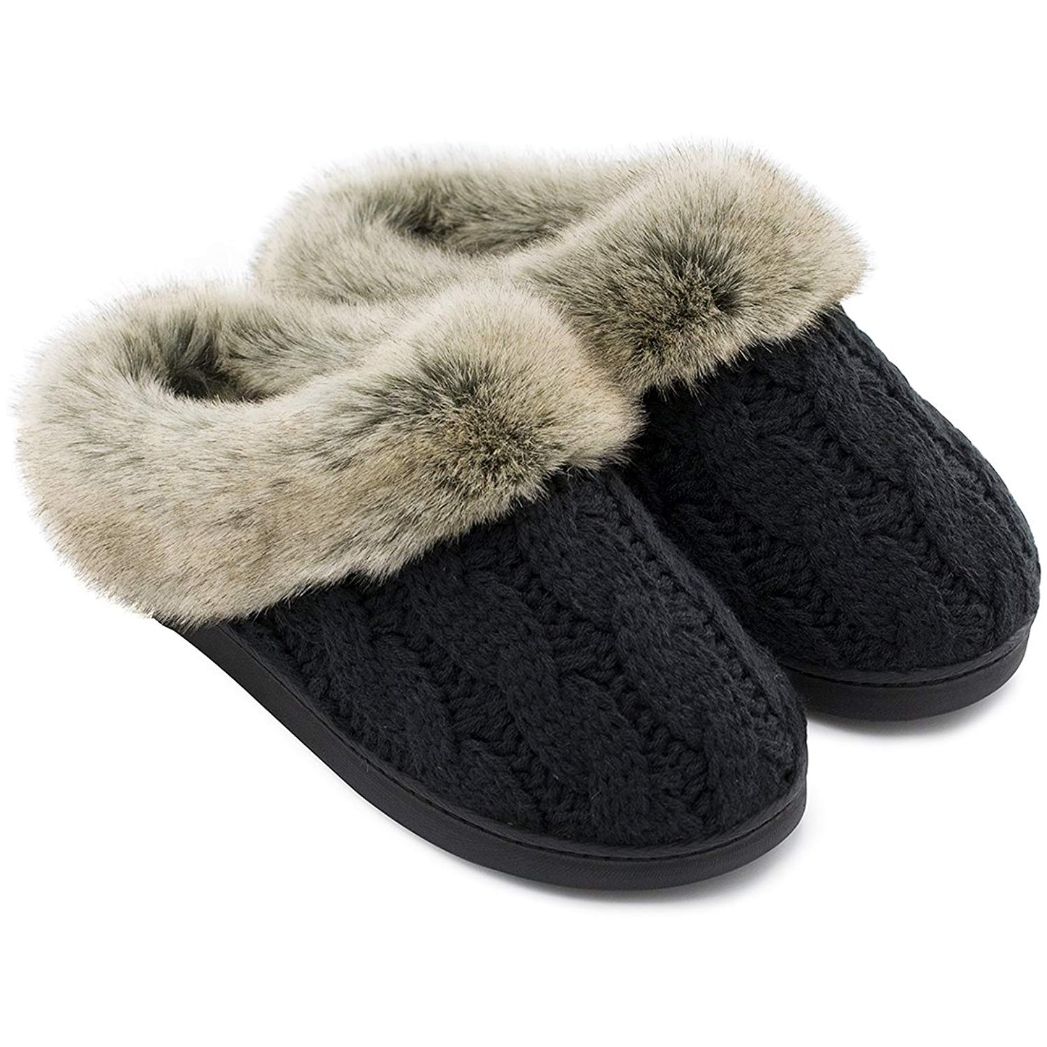 Women's Soft Yarn Cable Knit Slippers Memory Foam Anti-Skid Sole House Shoes w/Faux Fur Collar, Indoor & Outdoor