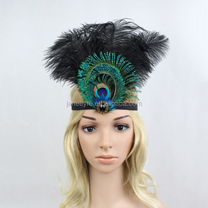 Real Peacock Feather Headband Native American Carnival Party Headpiece