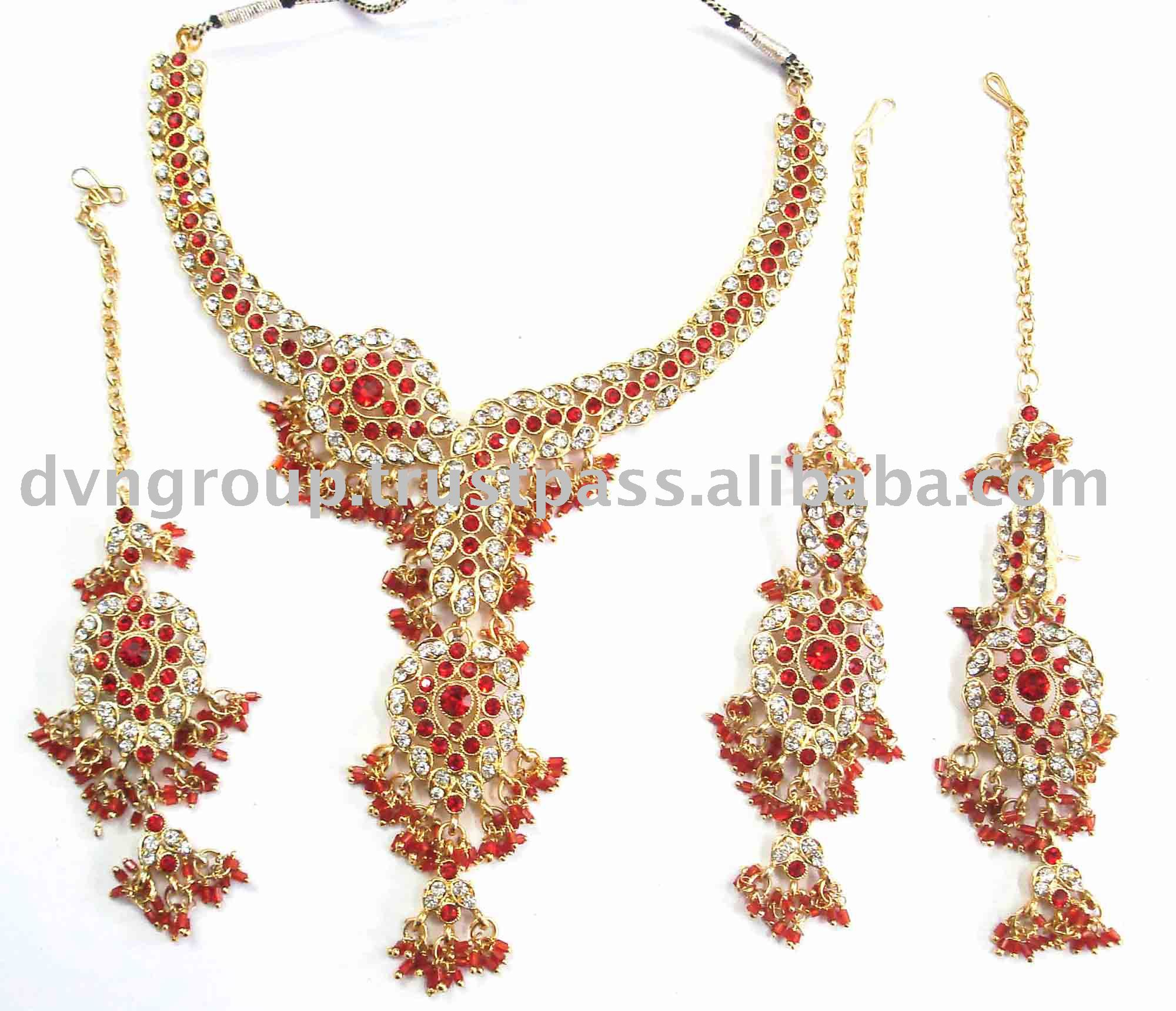 fashion set lovely jewelry tikka green earrings kundan necklace jewellery chokers bridal choker indian beaded