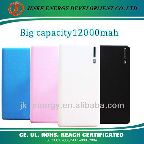 Hot sell 12000mah external portable charger for iphone/ipad/ipod/samsung smartphone