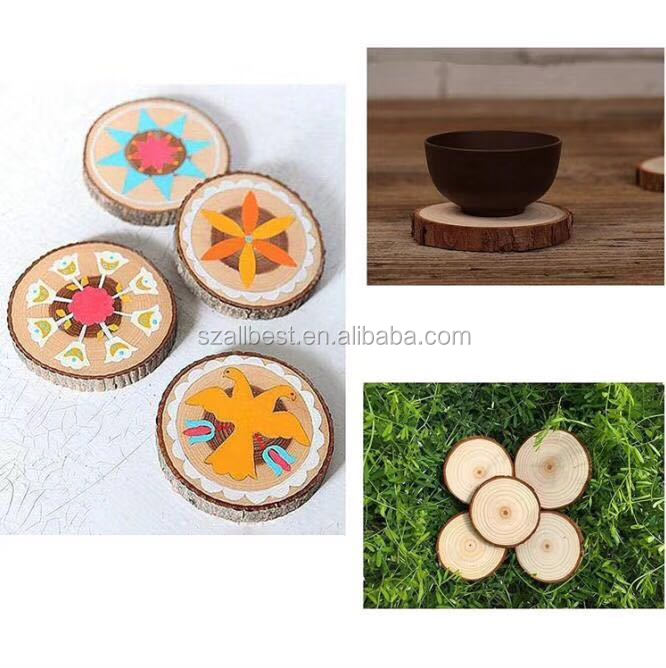 Natural Round Pine Wood Wine Beer Cup Glass Coasters Wood Coasters