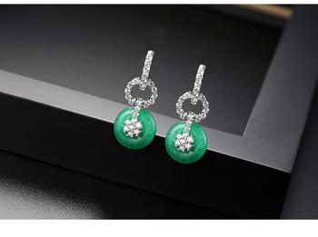 Donut Art Deco Style Green Earrings