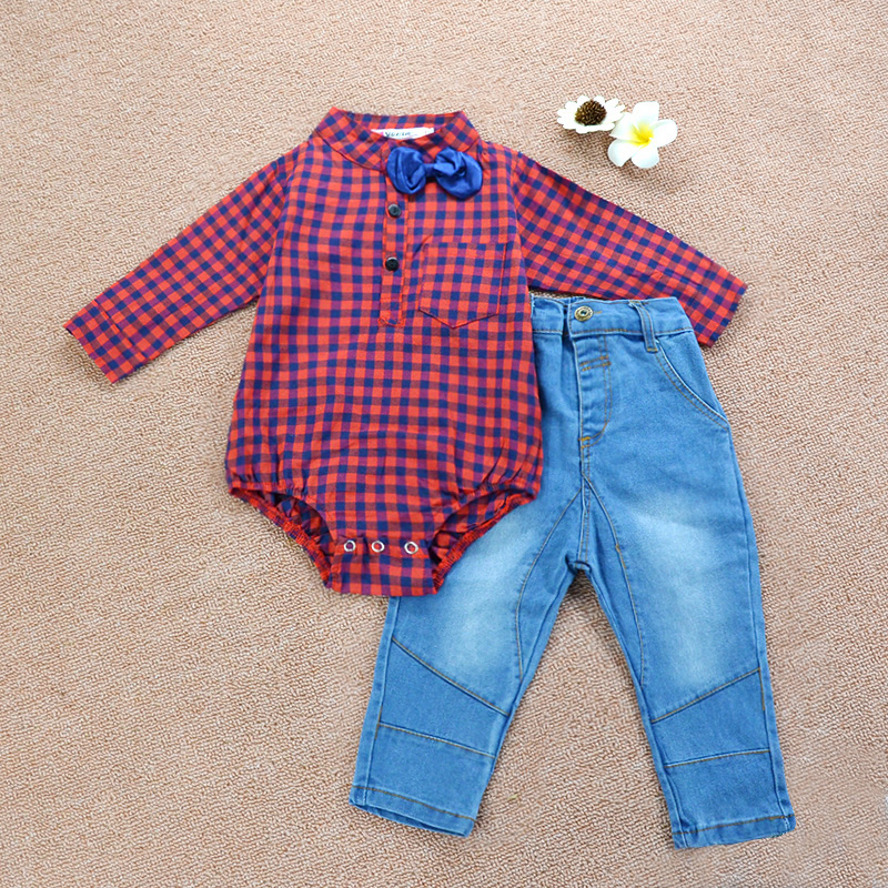 popular autumn winter baby boys stripe romper long Jeans clothing set with necktie