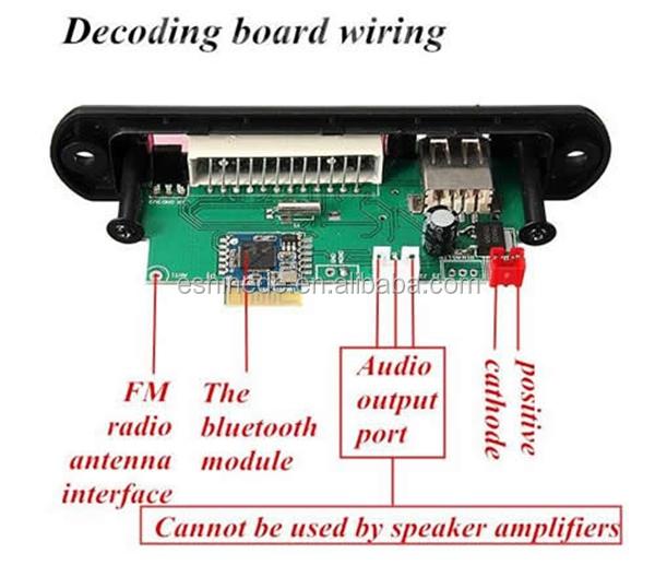 car led bluetooth mp3 wma decoder board audio module 12v. Black Bedroom Furniture Sets. Home Design Ideas