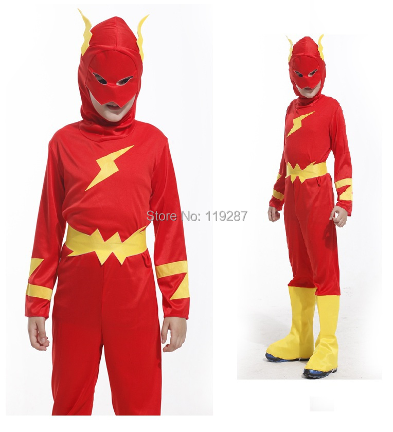 Free shipping cosplay costumes halloween Caribbean boys Anime Lightning Superman costumes on sale cheap